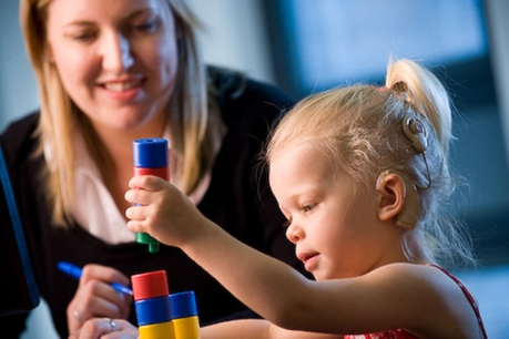 speech therapist used play based therapy with child